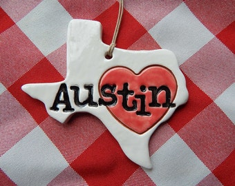 Austin Texas Ornament, Austin Ornament, ATX, Heart Ornament
