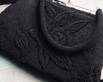 Vintage Handmade Black Beaded Handbag