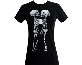 Siamese Twins Skeleton T Shirt - Horror Goth Print  Ladies Shirt - (Available in sizes S, M, L, XL)