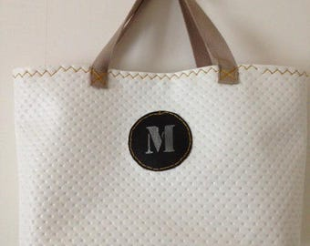 White and silver handbag