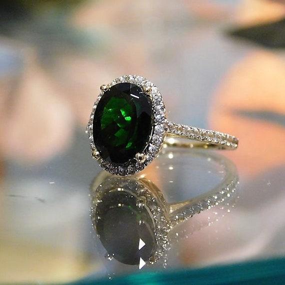 Chrome Green Tourmaline Ring / Size 6 / Pave Halo Diamond / Engagement / 10K Yellow Gold / 2.75 Carats