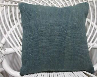 14x14 Anatolain Turkey Kilim Pillow Flat pillow 14x14 Antique Kilim Pillow 14x14 Kilim Pillow Blue Color Pillow  212