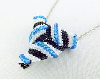 Twisted Peyote Triangle Necklace  / Peyote Triangle / Beaded Necklace / Seed Bead Necklace / Beadwork Necklace / Triangle Pendant