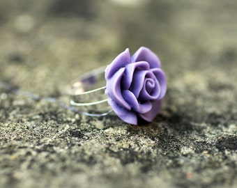 Purple Rose Flower Adjustable Ring