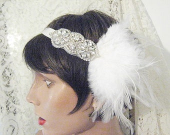 FLAPPER HEADBAND Rhinestone headband 1920's headpiece Gatsby headpiece Gatsby headpiece 1920's headband Art Deco white silver headband bride