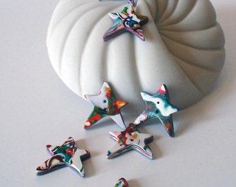 Rainbow Star Handmade Buttons Set of 7 Polymer Clay White, Red, Orange, Yellow, Green, Blue, Purple