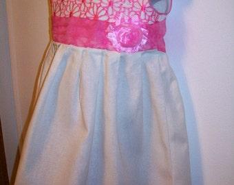 Girls Linen Dress Size 4 - Linen - Pink Embroidered Flowers - Matching Headband