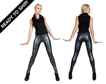 Leggings in Black Holographic w. Jeans Back, Sparkle Leggings, Metallic Leggings, Stage Wear, Burning Man, Men Festival Clothes, LENA QUIST