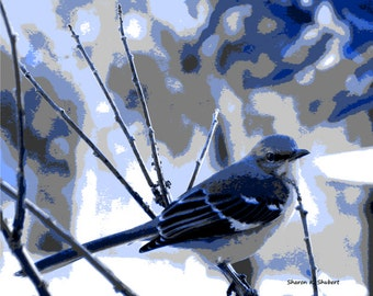 Blue Bird Art, Monochromatic Design, Abstract Realism, Digital Woodland Animal, Decorative Home Decor, Wall Hanging, Giclee Print, 8 x 10
