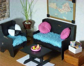 Vintage furniture for barbie doll, monster high, blythe, scale 1: 6, wooden furniture, barbie furniture, black furniture, doll furniture