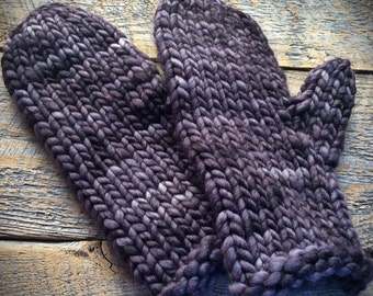 Gift for her, wool mittens, warm knit mittens, gray knit mittens, bulky mittens, super warm mittens