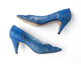 50s 60s • Denny Stuart • Blue Lace Pumps