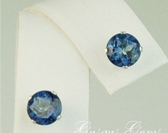 Memorial Day Sale Mystic Topaz Sapphire Blue Sterling Silver Studs 6mm 2ctw
