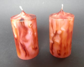 Handmade Candle ,  Pillar Candle, Marbled Candle, Unscented Candle