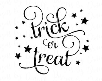 Trick or Treat SVG Cutting File • Commercial Use • Silhouette Cameo Cricut Calligraphy Cut Cutting File