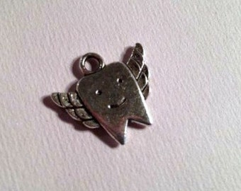Tooth Fairy Necklace - Silver Charm Jewelry - Chain Jewellery - Children - Teeth Special Little Girl Pendant Drop Gift