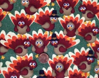 TURKEYS, Turkey, Thanksgiving Fabric~100% Cotton for Crafts & Quilting~Fat Quarter/ FQ or Half Yard