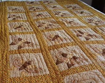 Antique Butterfly Quilt, Hand Stitched Yellow Vintage Quilted Blanket