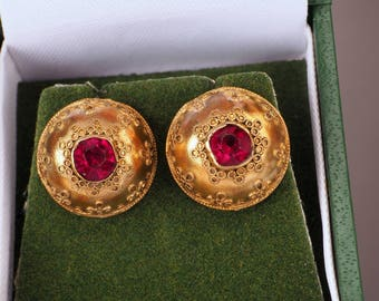 Gold Victorian Earrings, Etruscan Revival with Faux Ruby, c1860