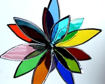 New 2 Sizes -Rainbow Stained Glass 3D Flower -Suncatcher - In Full Bloom