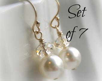 Swarovski crystal earrings clear or champagne crystal ivory pearl, white pearl,Bridesmaid earrings set of 5 pearl earrings bridesmaid gift