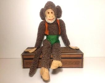 Toy Monkey, Vintage Plushie, Monkey Teddy, Sock Monkey, Hand Made Monkey.
