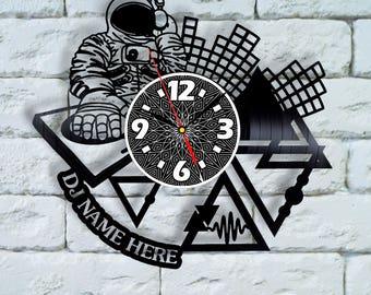 Custom Vinyl Clock Custom wall clock DJ vinyl records, dj decor, dj customize home decor wall decor, dj vinyl clock dj wall clock