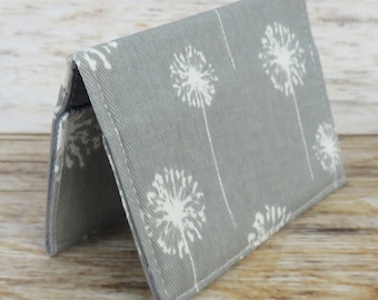 Debit Credit Card Case -  Business Card Case  - Receipts Cash Case - White Dandelions on Gray Fabric