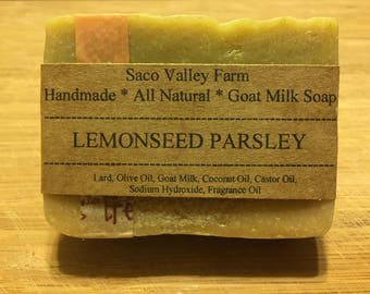Lemonseed Parsley Goat Milk Soap, Handmade Cold Process Farm Soap, Artisan Soap, Homemade Soap, All Natural Soap