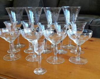 Vintage Etched Crystal Glassware Collection