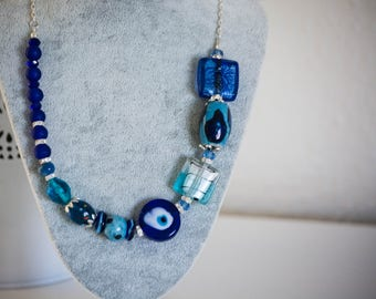 Unique gift, Christmas gift, Chunky Blue Necklace - Big&Bold