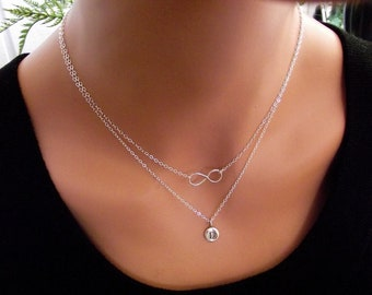 Infinity Necklace - Eternity Circle, Infinity Link, in Sterling Silver, Double Chain, Personal Initital  -