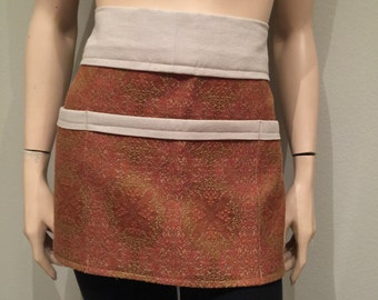 Women's Apron Waitress Apron, Red Upholstery and Khaki