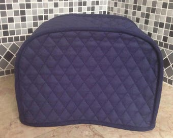 Navy Blue 2 Slice Quilted Fabric Kitchen Storage Toaster Cover Made To Order