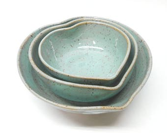 Heart Dish, Heart Pottery, Heart Bowls, Nesting Heart Bowls, Wedding Gift, Gift for Her, Set of Three in Speckled Turquoise