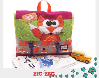 "Great kids Briefcase (nursery, nanny, kindergarten) ""Leonard Fox, green and fucshia"" format A4 (37 x 25 x 11cm)"