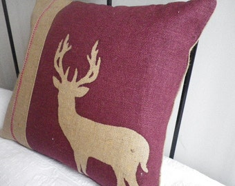 hand printed reversible stag cushion cover