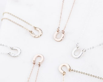 Tiny Gold Filled, Sterling Silver, Rose Gold Filled Horseshoe Dainty Necklace, Minimalist Necklace, Layering Necklace, Everyday Wear