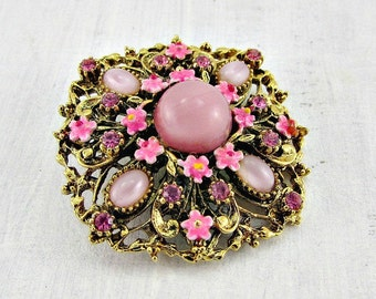 Vintage Pink Opal Brooch Pin, Designer ART MODE, Enamel Flower Brooch, Pink Glass Rhinestone Brooch, Gold Filigree Brooch, 1950s Jewelry