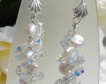 Keishi And Swarovski Wrap Around Earrings