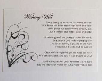 Wishing Well Cards (20 Pack)  Wedding, Engagement, Black and White spray