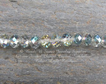 8mm Faceted Rondelle Beads, Light Rainbow, China Glass Crystals