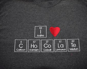 Periodic table chocolate etsy large t shirt gray i heart chocolate t shirt embroidered in periodic table letters urtaz Choice Image