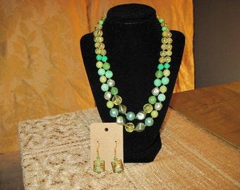 two strand necklace with matching earrings