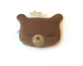 Teddy bear with rattle, brawn velvet, baby pillow