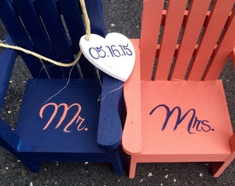 The ORIGINAL Set of 2 Cake Topper Wedding Decor Mini Adirondack Chair  with heart Beach Lake Rustic  Personalized  Any Color