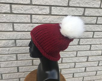 Knit Beanie | Slouchy Hat with Fur Pom Pom | Winter Hat | Winter Accessory | Gift Ideas | Holiday Gift