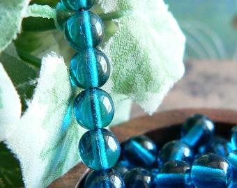Capri Blue Czech Glass Beads Round Druk Transparent 6mm (30)