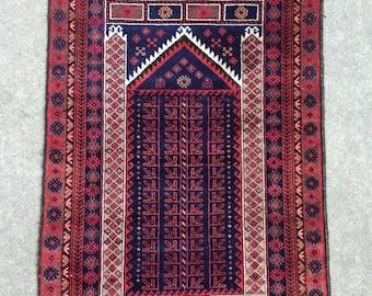 Baluch Tribal rug - Vintage Prayer rug - 2'10 x 4'8 - 87 x 143 cm. - Free shipping!