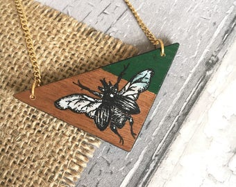 Hand painted beetle necklace • Wooden triangle necklace • geometric jewellery •  handmade necklace • beetle jewellery •